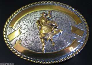 New Crumrine Belt Buckle Silver Gold Bull Rider Riding