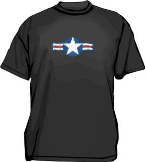US Air Force Star Wing Distressed Style Logo Mens tee Shirt in 12