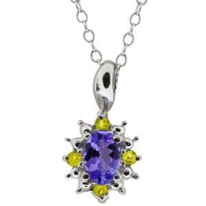 0.53 Ct Oval Blue Tanzanite and Canary Diamond 10k White