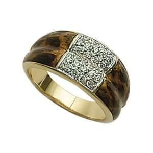 18K Gold Plated Clear Cubic Zirconia Leopard Print Band Ring Jewelry