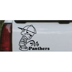 Black 8in X 6.6in    Pee On Panthers Car Window Wall Laptop Decal
