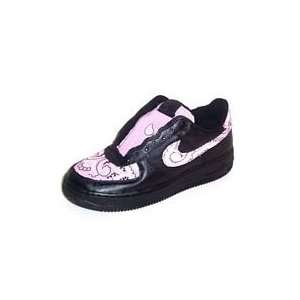 :: Custom Nike Air Force One Low Top (Black/Pink): Sports & Outdoors