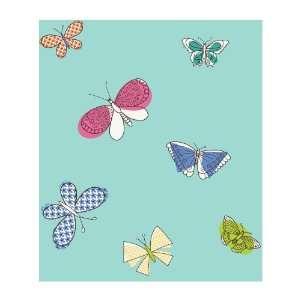Wallcoverings PW4017 Girl Power 2 Butterflies Wallpaper, Teal/Multi