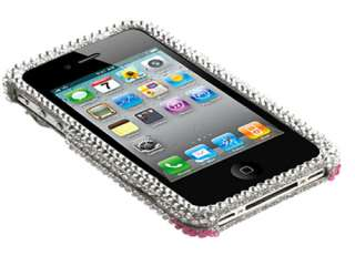 RHINESTONE 3D BLING FACEPLATE HARD CASE COVER APPLE IPHONE 4 4S