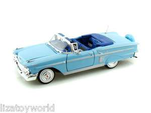 1958 Chevy Impala Convertible BLUE 124 Scale By Motormax NEW Item