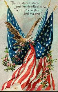 Vintage 4th of July Fabric Block American Flag Eagle