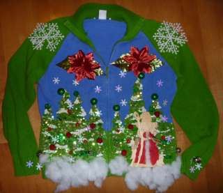Womens Ugly CHRISTMAS Sweater Contest Size Sm Med Hand Made Penguin