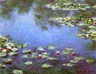 FRAMED MONET Water Lilies Painting Repro CANVAS ART