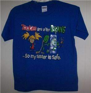 NWT ZOMBIE SISTER SHIRT BOYS MEDIUM 10 12 SILLY FUNNY TEE FAST & FREE