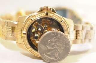 New Ladies 0123 Mechanical Skeleton Hand Wind Gold Tone Womens Watch