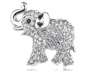 Austrian Ice Clear Crystal Rhinestone Silver Tone Baby Trunk Elephant