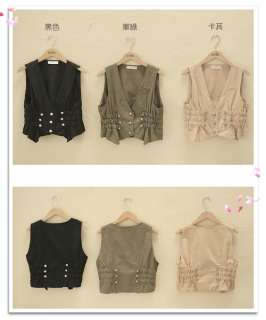 New Korean Women Slim Sleeveless Vest Jacket Top 0763