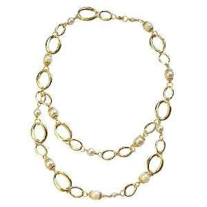 Yellow Gold Plated Circles and White Beads Double Necklace