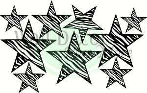 Zebra Print 9 Stars Wall Vinyl Sticker Decal Room Decor