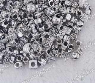 100pcs Tibetan European Silver Beads fit Charm bracelet