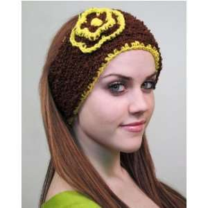 handmade headband flower design brown and yellow color