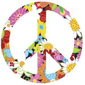 FUNKY FLORAL Peace Sign Symbol Vinyl Wall Art Decal BIG