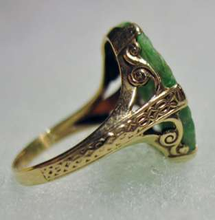 No Reserve Antique Estate Vintage Jadeite Jade Ring 14K Gold ART DECO