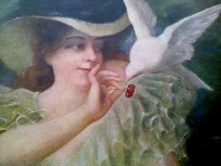 1900 Color Print of Victorian Lady feeding Cherries to a Dove SF Call