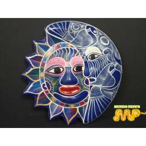 Dia de Los Muertos Sun & Moon Ceramic Plaque [Guerrero MEXICO] Folk