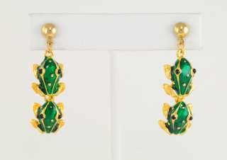 14KT Yellow Gold Ep Green Enamel Frogs Dangle Earrings