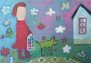 Girl Dog PAINTING ( 699) Folk Primitive Collage Altered ART Israeli