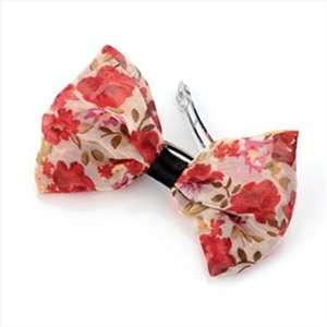 Pink Floral Chiffon Bow Hair Barrette/Clip AJ21414 Beauty
