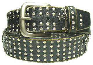 SK 1640 BK Black Studded Rhinestone Cross Leather Belt Unisex