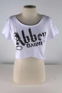 Abbey Dawn White Distressed Crop Top  1851