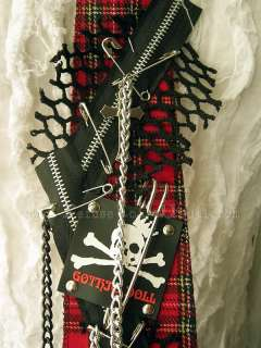 GOTHIC DOLL BOUTIQUE HANDCRAFT punk neck tie *RD TARTAN