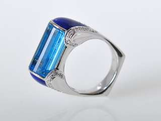 Gadi 18k White Gold Topaz Lapis Diamond Bar Ring
