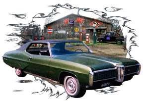 1968 Green Pontiac Grand Prix Hot Rod Garage T Shirt 68