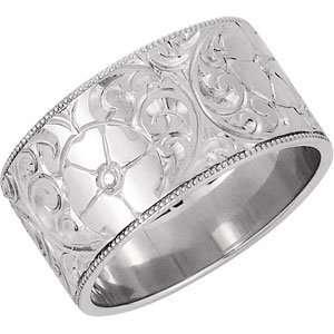Genuine IceCarats Designer Jewelry Gift 14K White Gold Wedding Band