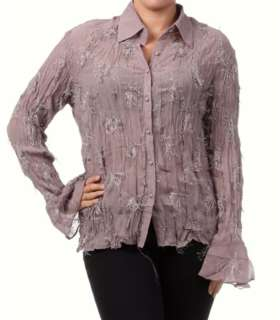 New Long Sleeve Shirt Button Down Blouse Plus Size Top 1X 2X 3X