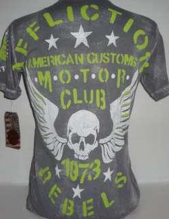 MMA American Customs Motor Club Rebels Gray Mens Tee Shirt L