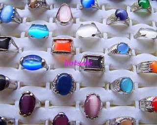 wholesale lots 50pcs assorted cat eye gemstone rings #@
