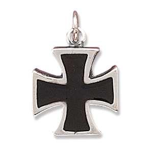 925 Sterling silver Black Enamel Maltese Cross Charm