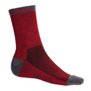 Wool Cycling Socks   Red w/ Grey Accents   GI SOCK WOOL RDGY Sports