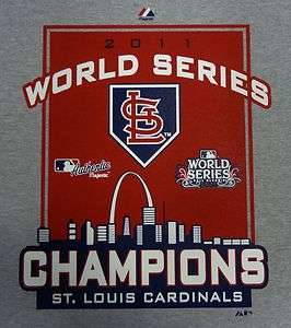 St. Louis Cardinals 2011 World Series Champions Grey T Shirt 5XL