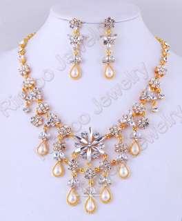 Free #2206 clear rhinestone necklace earring 1SET