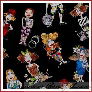 BOOAK Fabric Quilt Cotton Loralie VTG B&W Rainbow Kitty Cat Lady VHTF
