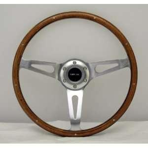 NRG Steering Wheel Classic Wood Grain Chrome Spokes 365mm