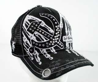 Red Monkey TOUCH OF DEATH Trucker Cap Hat Black EXCLUSIVO w/ crystals