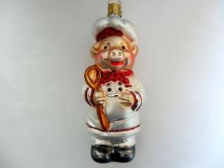 INGE GLAS PIG CHEF GERMAN BLOWN GLASS CHRISTMAS ORNAMENT COOK HAT