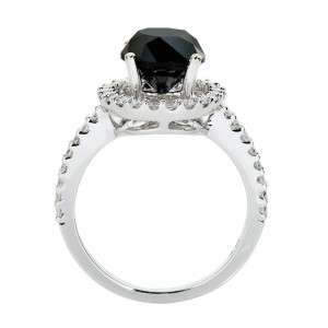 55 CT TW BLACK ROUND DIAMOND 14K WHITE GOLD RING