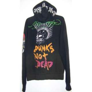 Ed Hardy Christian Audigier SZ XL DESTROY Punks Not Dead Hoodie