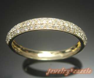 PAVE SOLID 14K YELLOW GOLD DIAMOND WEDDING HALF ETERNITY BAND