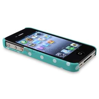 For iPhone 4 4th G 4S Pink+Purple+Blue+Red w/White Dot Hard Clip on