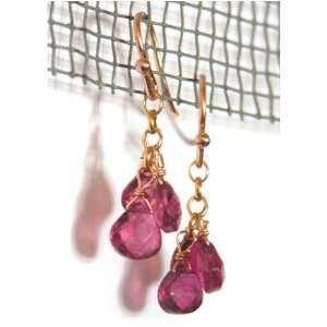 14K Gold Pink Tourmaline Briolette Earrings, MADE IN AMERICA Jewelry