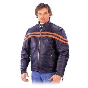 Mens Leather Motorcycle Jackets Striped Scooter Jacket MJ779Orange in